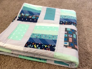 Blue Green Cotton and Steel Quilt