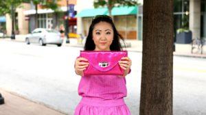 Jennifer Pink Outfit Glittery Fuschia Clutch Purse EDITED 1