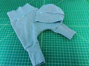Baby Set Leggings Hat Cloud 9 organic cotton knit stripe navy aqua sewing report