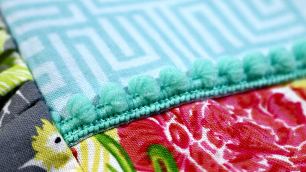 Fresh Stitch Patterns Playgroup Dress Modern Eclectic by Blend Fabrics Khristian Howell Mint Green Pom Pom Trim Close Up