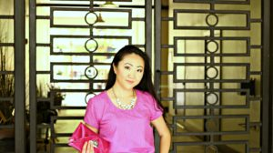 Jennifer Pink Outfit Swirly Gates Clutch Purse Mid Shot EDITED