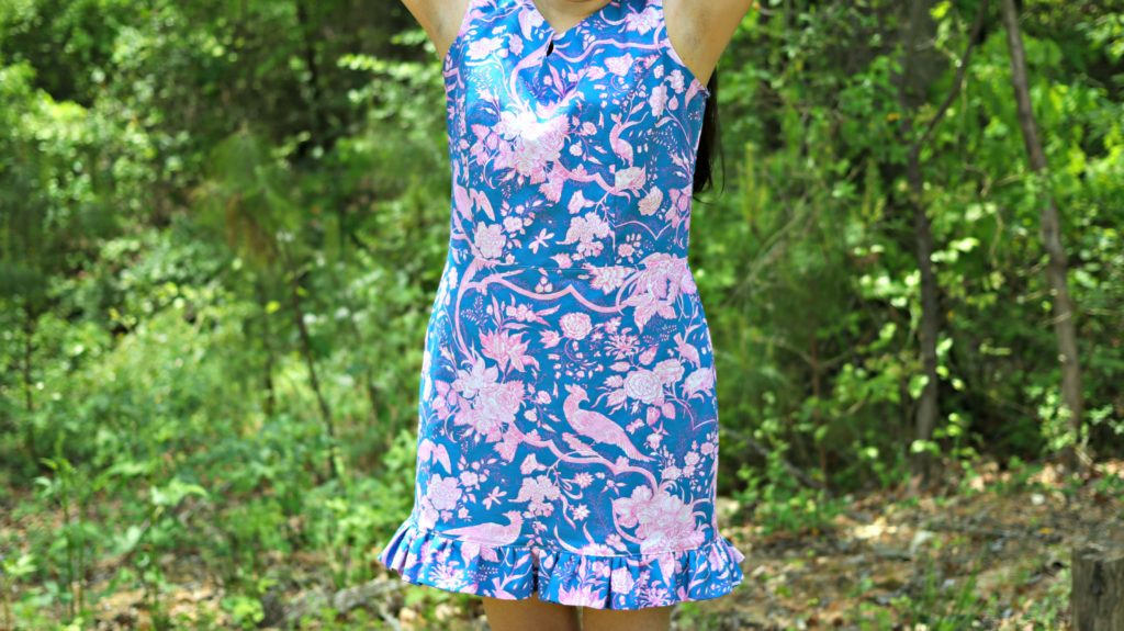 Rebecca Shift Dress Jennifer Paganelli Hotel Frederiksted Fabric Pink Blue close up dress Sis Boom Patterns