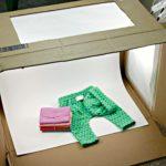 DIY Photography Light Box from a Cardboard Box, Walmart LED Desk Lamps