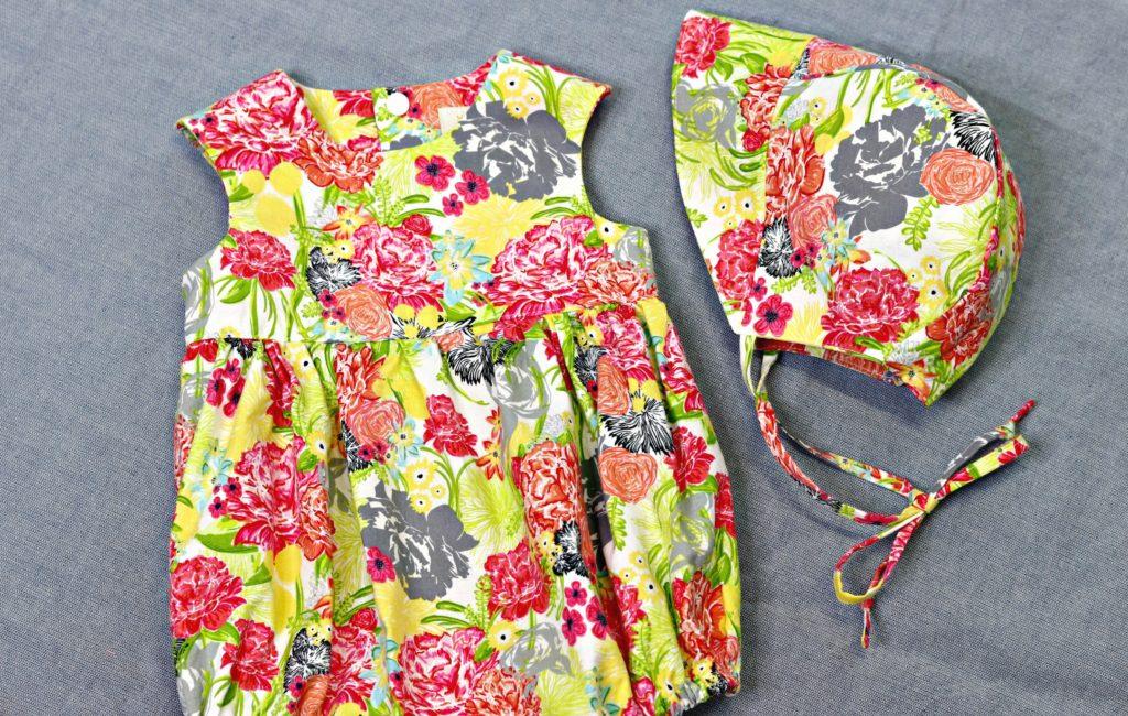 Playgroup Romper Fresh Stitch Patterns Modern Eclectic Fabric Full Shot Bonnet 1