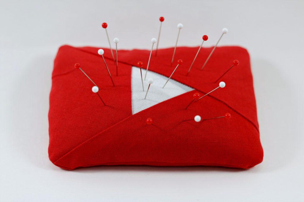 YouTube Logo Pin Cushion Sewing 2