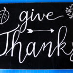 Hand Lettering Chalkboard Art with 'Give Thanks' Fall Theme